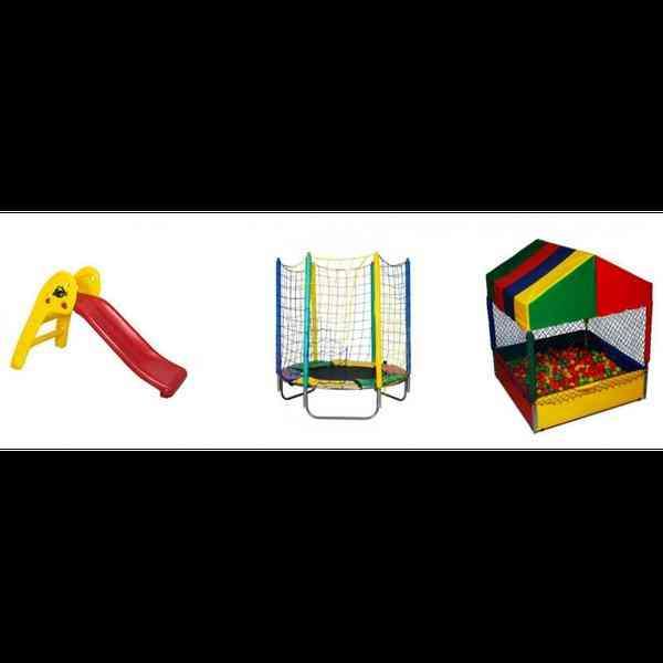 Kit  Promocional -cama Elástica 1.50 M ,piscina de Bolinhas 1.50 M C/ 500 Bolinhas , Escorregador 2 Degraus