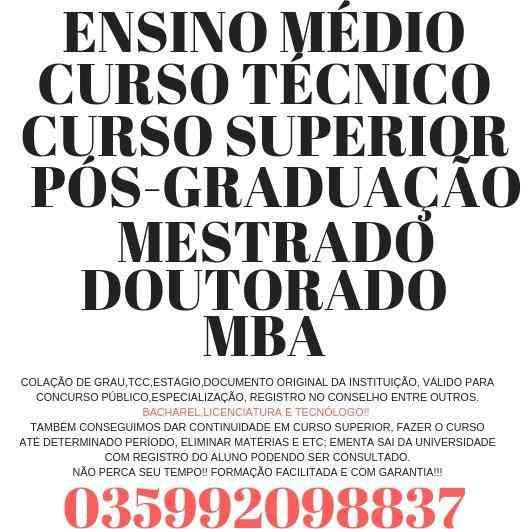 Diplomação 2019: Bacharel,licenciatura e Tecnólogo(035992098837)