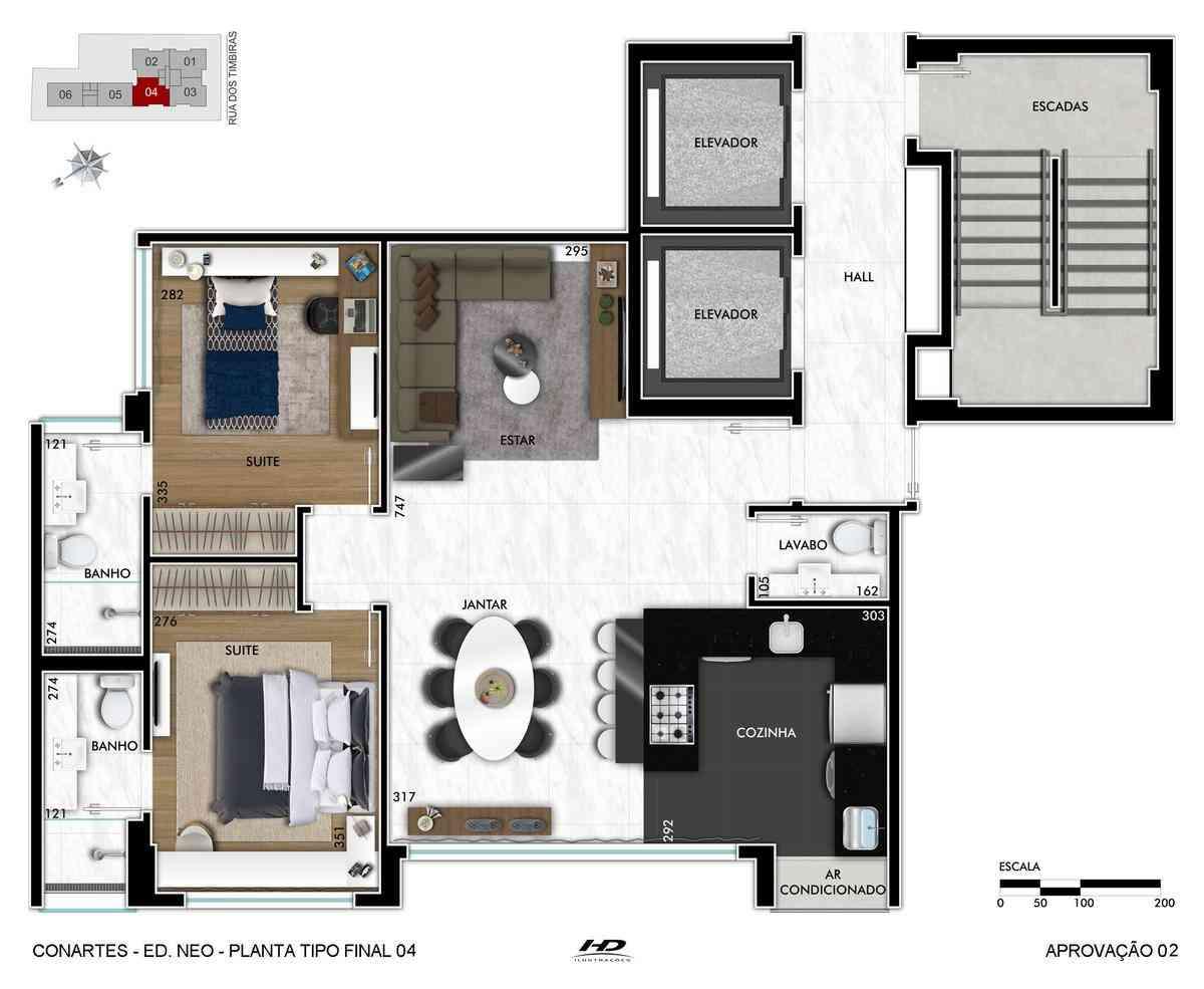Apartamento, Funcionários, 2 Vagas, 2 Suítes