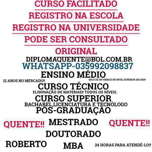 Carreira Profissional: Bacharel,licenciatura,tecnólogo,curso Técnico,curso Médio-035992098837-whatsapp
