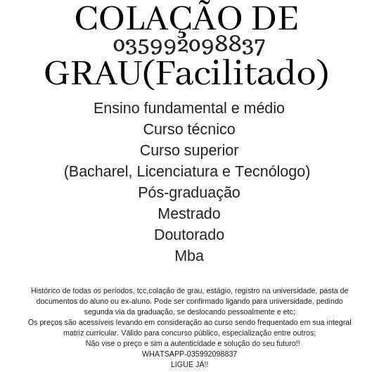 Ensino Médio, Curso Técnico ,curso Superior(035992098837) 2019!!