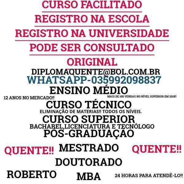 Recupere Os Estudos!! Ensino Médio,curso Técnico,curso Superior((035992098837))whatsapp